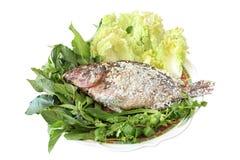 Grilled saltade fisken med den nya grönsaken Royaltyfri Bild
