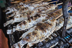 Grilled salty fish skewer Royalty Free Stock Photos