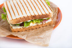 Grilled sandwhich on a plate Stock Image