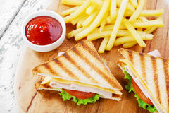 Grilled sandwich with ham cheese Royalty Free Stock Photo