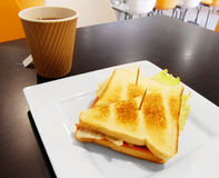 Grilled sandwich Healthy school lunch in cafeteria. A picture of a grilled toasted sandwich - a simple and healthy lunch for school children and teens, taken at Royalty Free Stock Image