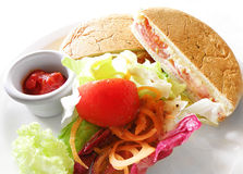 Grilled sandwich & salad, healthy light lunch Royalty Free Stock Photography