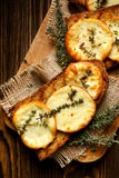 Grilled sandwich with smoked sheep cheese and thyme Stock Photography