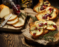 Grilled sandwich  with smoked sheep cheese and wild red huckleberry jam Royalty Free Stock Photography