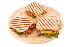Grilled Sandwiches with Vegetables and Chicken stock image