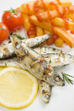 Grilled sardine fish with french fries Stock Photography
