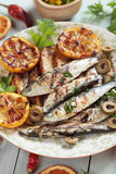 Grilled sardine fish Stock Photo