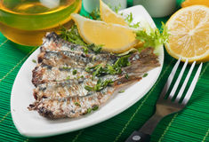 Grilled sardine fish with lemon and lettuce Royalty Free Stock Image