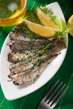 Grilled sardine fish with lemon and lettuce Royalty Free Stock Images