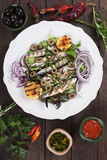 Grilled sardine fish with lemon and onion Royalty Free Stock Photography
