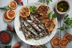 Grilled sardine fish Stock Photography
