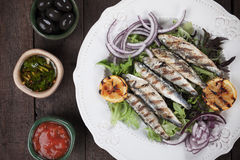 Grilled sardine fish with lettuce and onion Stock Photography