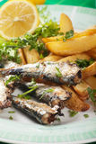 Grilled sardine fish with potato wedges Royalty Free Stock Images