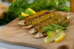 Grilled sardine fish wraped in vine leaves Stock Photography