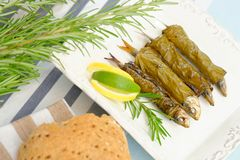 Grilled sardine fish wraped in vine leaves Stock Image