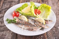 Grilled sardine Stock Photo