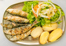 Grilled sardines with mediterranean salad and boiled potatoes. Royalty Free Stock Photo