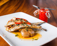 Grilled Sardines Plate with Red Pepper and Potato Stock Images