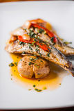 Grilled Sardines Plate with Red Pepper and Potato Stock Photography
