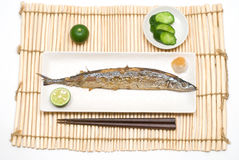 Grilled saury Stock Image