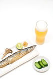 Grilled saury Stock Photography
