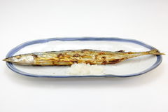 Grilled saury. I have taken a grilled fish, as representing a fall season in Japan Royalty Free Stock Image