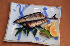 Grilled Saury. To saury of grilled I have served with cut lemon (Cabos Stock Photos
