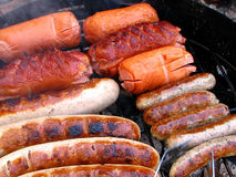 Grilled sausage. Barbecue, food theme stock photography
