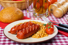 Grilled sausage with beans Royalty Free Stock Photo