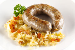 Grilled sausage with cabbage Stock Photos