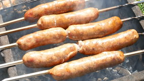 Grilled sausage close up stock video footage