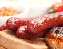 Grilled sausage collage Stock Photo