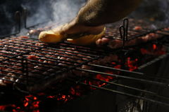 Grilled sausage. Detail on a particular night grilled sausages Stock Image