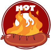 Grilled Sausage And Flames With Banner Royalty Free Stock Image