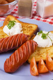 Grilled sausage with french toast Royalty Free Stock Image