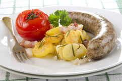 Grilled sausage with fried potato Stock Photo