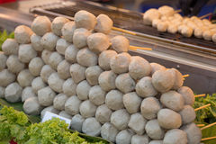 The grilled sausage and meat ball at market Stock Photos