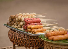 The grilled sausage and meat ball in Thai style Royalty Free Stock Photos