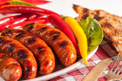 Grilled sausage. Royalty Free Stock Photo