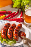 Grilled sausage. Royalty Free Stock Photography