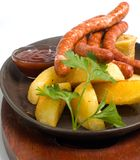 grilled sausage platter Stock Photography
