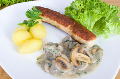 Grilled sausage with potatoes and mushrooms in cream Stock Image