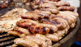Grilled sausage and ribs unhealthy food Stock Photos