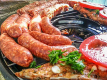 Grilled sausage romanian barbeque Stock Photos