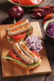 Grilled sausage sandwich Stock Photography