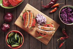 Grilled sausage sandwich Stock Image