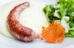 Grilled sausage served Stock Photography