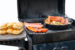 Grilled sausage with sesame seed buns Royalty Free Stock Photos