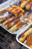 Grilled sausage and turkey. Stock Photos