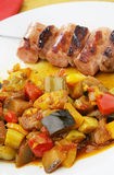 Grilled sausage with vegetables Royalty Free Stock Images